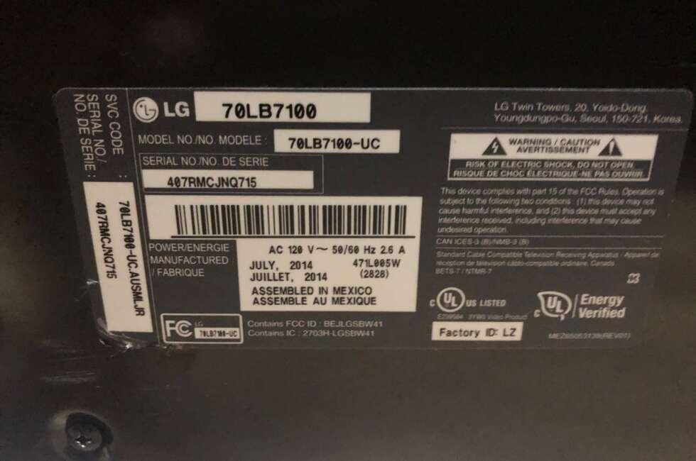 orlando TV repair lg 70lb7100-ub