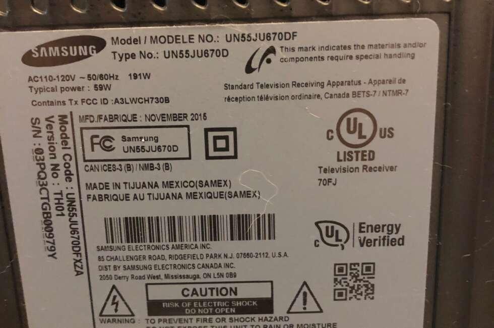tv repair for samsung un55ju670dfxza