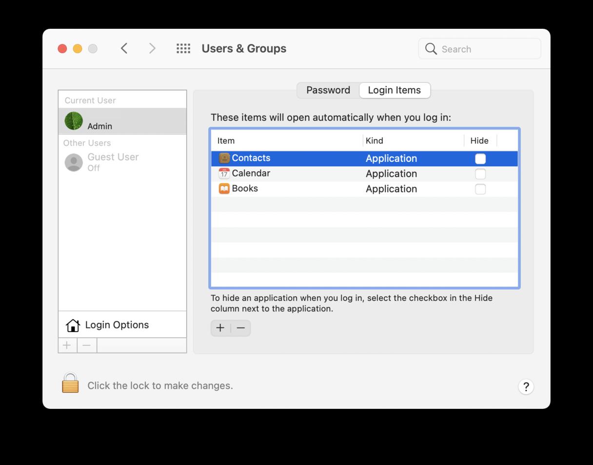 MacOS Login Items