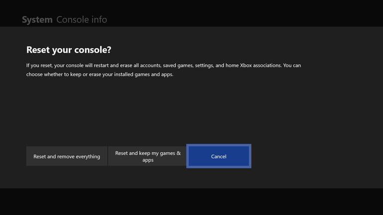 Xbox One Reset Settings